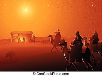 Three Wise Men Arrives - Biblical vector illustration...