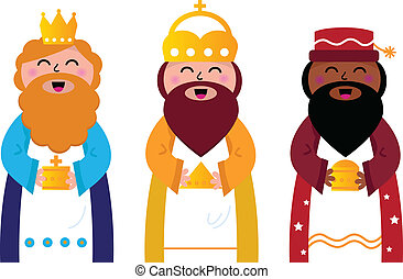 Caspar, Melchior and Balthazar follow the star of Bethlehem. Vector cartoon Illustration
