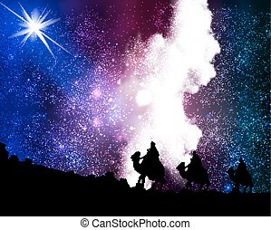 Three wise men by a star on the bac - Three wise men a star...