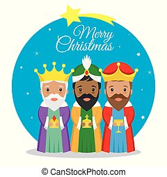 Three Wise Men. Christmas card