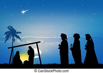 three wise men - Christmas Nativity scene
