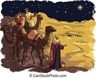 Three wise men following the star
