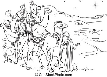 Three wise men following the star of Bethlehem outlined