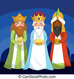 Three Wise Men bring gifts to Jesus on Christmas