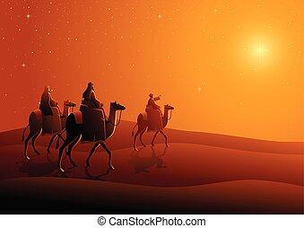 Three wise men, journey to Bethlehem - Biblical vector...