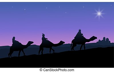 Three wise men on camels following the star