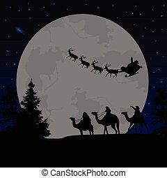 Three wise men or kings and Santa's sleigh