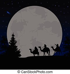 Three wise men or kings in front of full moon