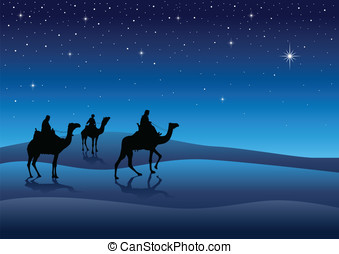 Three Wise Men - Silhouette illustration of Three Kings from...