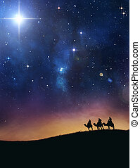 Three wise men following the star of bethlehem.
