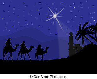 Three wise men with camels and a shining star of Bethlehem