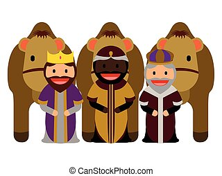 Three wise men with camels on a white background, Vector...