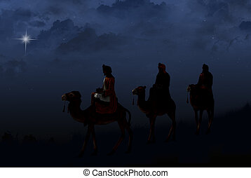 three wise men with star - Three wise men on camels ...