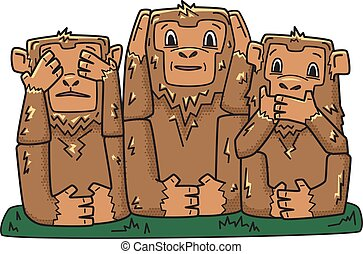 Three wise monkeys. mystic apes. See no evil, hear no evil, speak no evil. Vector character illustration, isolated on white.