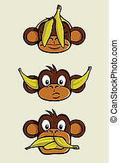 Three wise monkeys - See no evil, Hear no evil, Speak no...