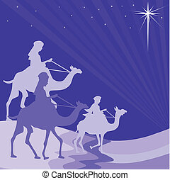 Illustration of three wise men on their way to Bethlehem
