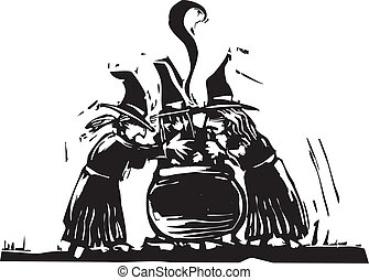 Three Witches - Three witches stand over a boiling cauldron.