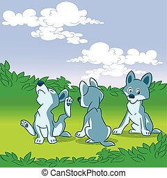three wolf cub - The illustration shows a brood small...