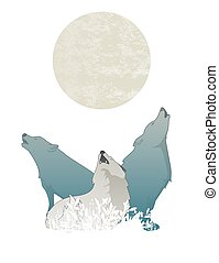 Three wolves howling at the full moon, isolated on white background.