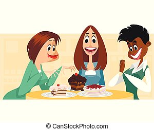 Three women and desserts