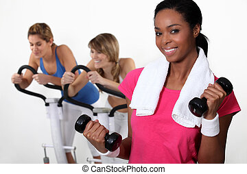 Three women at the gym.