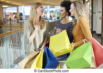 Three women at the shopping mall