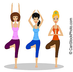 three women do physical exercises - three young women do...