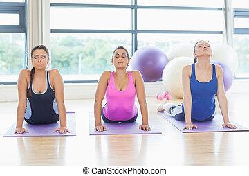 Three women doing the cobra pose in