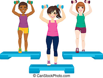 Three Women Exercise - Three beautiful active women doing...