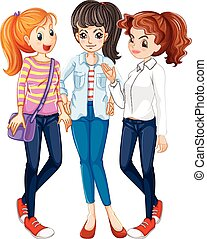 Three women hanging out together illustration