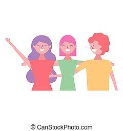 three women hugging friends