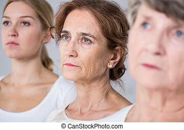 Three women in different age