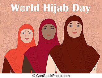 Three women of different nationalities standing together. World hijab day.