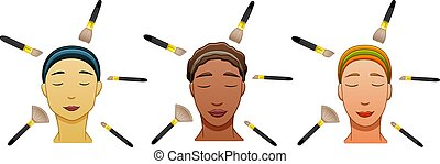 Three women of different races with make up brushes