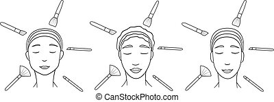 Three women of different races with make up brushes in lines