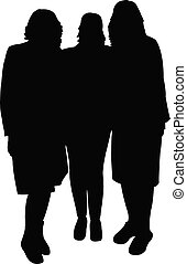three women together, silhouette vector