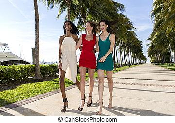 Three women walking