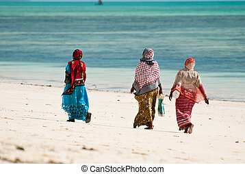 Three women walking on the beach - Women walking on the...