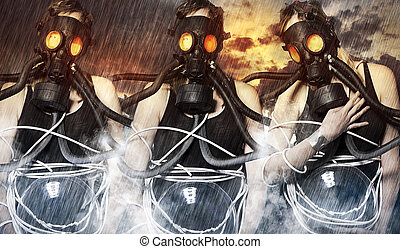 three women wearing gas masks on apocalyptic background