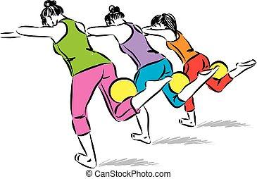 three women with yoga fitness ball vector illustration