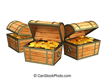Three wooden boxes with treasures. Isolated over white
