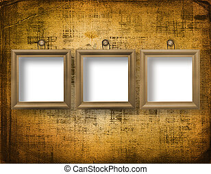 Three wooden frameworks for portraiture on the abstract background