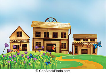 Three wooden houses - Illustration of three wooden houses