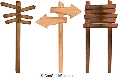 wooden indication - three wooden indication isolated over ...