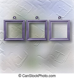 Three wooden lilac frameworks for portraiture on the abstract background