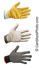 work gloves - three work gloves isolated on white...