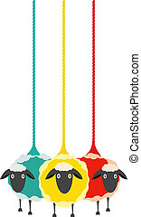 Three Yarn Sheep - Vector EPS10 graphic illustration of...