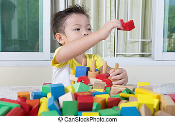 three-year, blocs, jouet, jeux, enfant