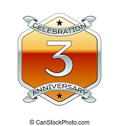 Three years anniversary celebration silver logo with silver ribbon and golden hexagonal ornament on white background.