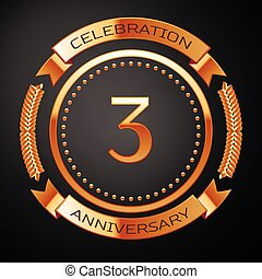 Three years anniversary celebration with golden ring and ribbon.